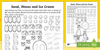 Sand, Waves and Ice Cream Number 10 Counting Worksheet / Activity Sheet - ROI, Exploring my world, seaside, maths, counting, aistear, story, worksheet, irish, ireland, Irish