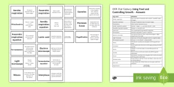 OCR 21st Century: Using Food and Controlling Growth Loop Cards  - anaerobic respiration, aerobic respiration, electron microscope, lactic acid, fermentation