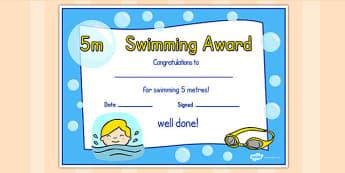 5m Swimming Certificate - swimming, certificate, 5m, awards