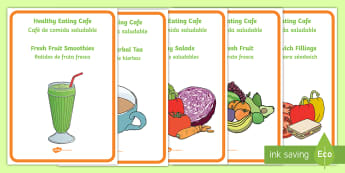 * NEW * Healthy Eating Cafe Role Play Display Posters - English/Spanish  - Healthy Eating Cafe Role Play Posters - healthy eating caf, rol eplay, healthy eatng, EAL,Spanish-tr