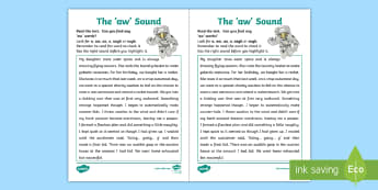 Northern Ireland Linguistic Phonics Stage 5 and 6, Phase 4b, 'aw' Sound Text Activity Sheet - NI, Linguistic Phonics, Stage 5, Stage 6, Phase 4b, Northern Ireland, Worksheet, 'aw' sound, sou