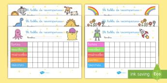 Pack de recursos: Tablas de recompensas - tabla de recompensas, comportamiento, recompensa, comportarse, premio, tablas, exposición, ,Spanish