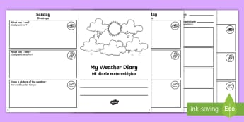 My Weather Diary Booklet Activity Sheet English/Spanish - weather, diary, template, worksheet, EAL