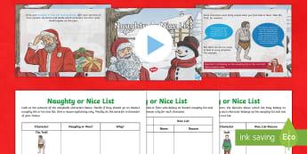 KS2 Naughty and Nice List Activity Pack - santa, father Christmas, Christmas, Xmas, opinions, good and bad characters, characteristics, goodie