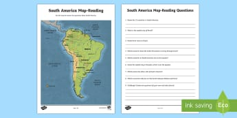 South America Map-Reading Activity - World Around Us KS2 - Northern Ireland,l South America, continent, map, map reading, geography, globe