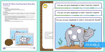 Ronald the Rhino Counting Spots Busy Bag Resource Pack for Parents - Rhinoceros, leopard, twinkl fiction, maths, number, counting, play doh, play dough