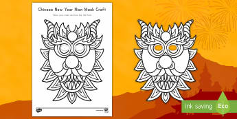 Chinese New Year Nian Mask Craft - Chinese New Year, Chinese New Year craft, Nian, Nian craft, legend of the nian, chinese myths, mask,