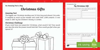 Christmas Gift Activity Sheet - Amazing Fact Of The Day, activity sheets, powerpoint, starter, morning activity, December, family, c