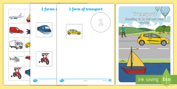 Transport Counting to 10 Cut and Paste Booklet - transport, book