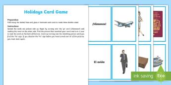 Holidays Card Game - Spanish - Spanish, Vocabulary, KS2, holidays, vacaciones, card, game, loop, dominoes