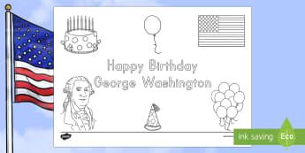 Presidents' Day Happy Birthday George Washington Colouring Page - Presidents' Day, George Washington