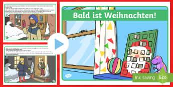 Bald ist Weihnachten Geschichte PowerPoint Präsentation - Weihnachtlich, Religion, Dekoration, lesen, vorlesen, Christbaum, Weihnachtsbaum, German