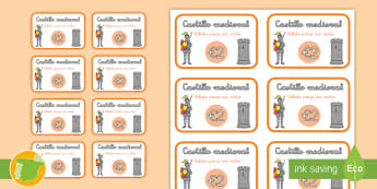 Billetes de juegos de rol: Entradas para el castillo medieval - juego de rol, edad media, entradas, billetes, juegos, ticket, niños, primaria, caballero, monumento