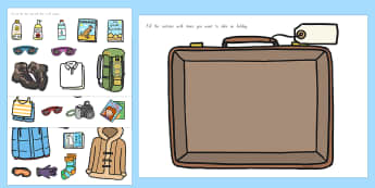 Pack a Suitcase Cut and Stick Activity - nz, new zealand, suitcase, cut and stick