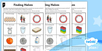PlanIt Maths Y1 Fractions Finding Halves Differentiated Home Learning