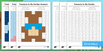 Treasures in the Garden Multiplication Maths Mosaics Activity Sheets - times, times tables, colour, pattern, lots of, worksheets