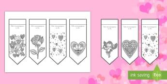 Marcapáginas de colorear para relajarse: Día de San Valentín - colorear, relajarse, estrés, vanlentín, San Valentín, día de los enamorados, amor, corazón, cup