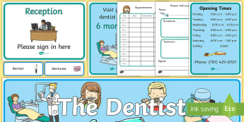 Dentist Role-Play Pack - dentist, role-play, pack, bulletin board, health, teeth, times, display, community helpers, pretend