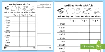 'ch' Spelling List Activity Sheets - CVC Words, A, Sounding Out, Look Say Cover Write Check, worksheets, Spelling Homework, ENG 0-12a/LIT