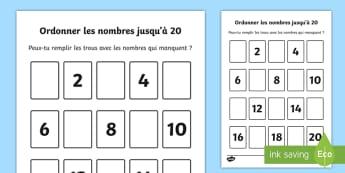 Feuille d'activités : Ordonner les nombres jusqu'à 20 - ordonner les nombres jusqu\'à 20, nombres, compter, vingt, maths, mathématiques, Priority Number
