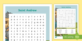 Saint Andrew Patron Saint Word Search - Keywords, skim, scan, vocabulary, topic words, st andrew, galilee, disciple