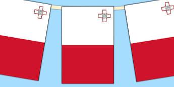 Malta Flag Display Bunting - countries, geography, display, flag