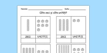 Zeci și unități - Fișă de lucru - zeci, unități, fișă de lucru, matematică, cifre, numere, numerație, trecere peste ordin, materiale, materiale didactice, română, romana, material, material didactic