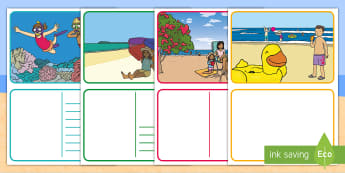 Beach-Themed Postcards - at the beach, seaside, holidays, crabby spit, camping