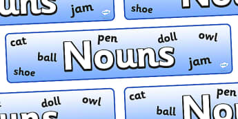 Nouns Display Banner - nouns display banner, noun, nouns, display, banner, sign, poster, grammer, English, word, words