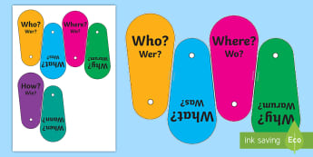 Question Word Fans Activity English/German - Words, Questions, EAL, German, English-German,,German-translation