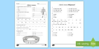 Cifrele romane Fișă de lucru - cifre romane, numere romane, numerație , activități, jocuri matematice, jocuri,Romanian