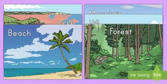 Physical Geography Keyword Display Posters - Natural Environment, Social Studies, Geography Display,  Early Childhood Social Studies, Social Stud