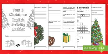 Year 5 Christmas English Activity Booklet - holiday booklet, homework booklet, y5, spag, writing activity, reading activity, SODA