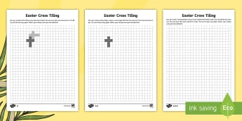 Easter Cross Tiling Differentiated Activity Sheets - CfE, calendar events, Scotland, Scottish, celebrations, Easter, Christian, Christianity, Jesus, tili