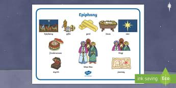 Epiphany Word Mat - jesus, christmas, story, bible, re, christianity, mats, vocabulary,