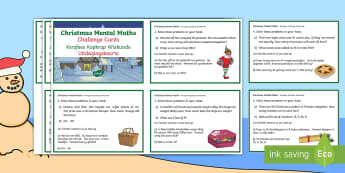 Christmas Mental Maths Challenge Cards English/Afrikaans - December, celebrate, count, Christmas tree, Desember, EAL