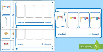 Workstation Pack – Length  Ordering (Four Pictures) Activity Pack - Workstation, TEACCH, length ordering, shortest, longest, maths shape and measure