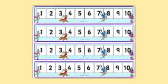 Roald Dahl Number Tracks 1 10 - roald dahl, numberlines, roald dahl numbertrack, numbertrack 1-10, roald dahl themed numberline 1-10, roald dahl themed
