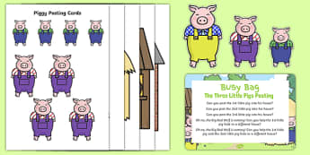 The Three Little Pigs Posting Busy Bag Prompt Card and Resource Pack