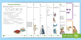 Prepositions and Prepositional Phrases Home Learning Worksheet / Activity Sheets - prepositions, prepositional phrases, prepositional openers. homework sheet, worksheet / activity sheet English,