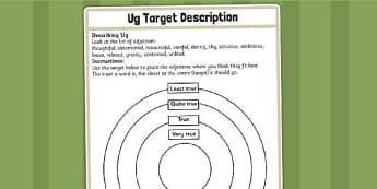 Target Sheet for Adjective Description Challenge Activity to Support Teaching on Ug