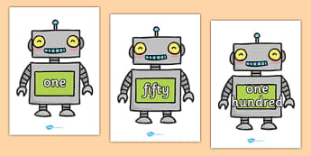 Number Words One To One Hundred On Robots - numbers, write numbers, write number words, maths, numeracy