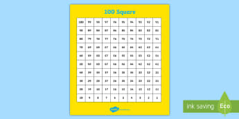 100 Square From 100 - 100 square, number square, counting, count