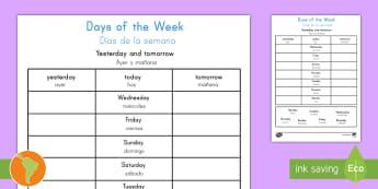 Days of the Week Yesterday and Tomorrow Activity Sheet US English/Spanish (Latin) - worksheets, literacy, writing, eal, español, weekdays