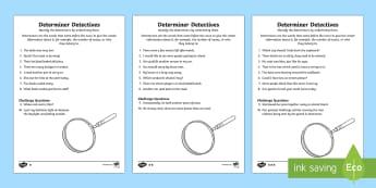 Determiner Detective Worksheets Differentiated - worksheet