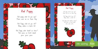 Red Poppy Poem - New Zealand, Anzac Day, 25 April, ANZAC, Poppies, World War 1, World War 2, Gallipoli, Red Poppy, Po