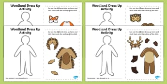 Woodland and Forest Animals Dress-Up Activity - woods, animals