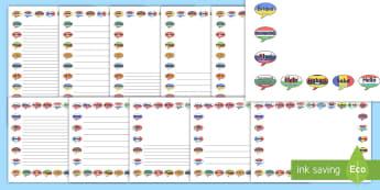 Mixed Language Flags Page Border Pack - Mixed Language Hello Speech Bubble Signs - Mixed Language Hello Speech Bubble Signs, mixed language,