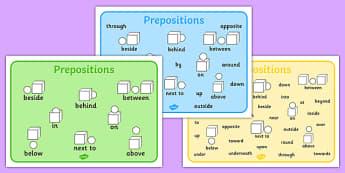 Prepositions Word Mat - prepositions, word, mat, word mat, words