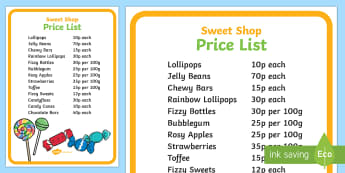 Sweet Shop Role Play Price List Poster - Sweet Shop Role Play Signs - sweets, shop, role play, candy, candy shop, sign, signs, poster, banner